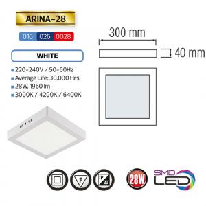 ARINA-28 LED Aufputz Panel Deckenpanel Eckig 28W,...
