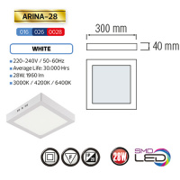 ARINA-28 LED Aufputz Panel Deckenpanel Eckig 28W, warmweiss 3000K