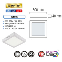 ARINA-40 LED Aufputz Panel Deckenpanel Eckig 40W, warmweiss 3000K