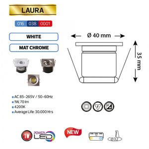 1W Weiss 4200K LED Einbaustrahler Mini Einbauspot - LAURA