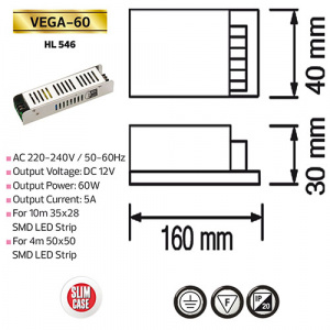 60W 5A Slim LED Trafo Transformator - VEGA-60