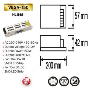 150W 12A Slim LED Trafo Transformator - VEGA-150