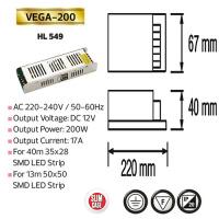 200W 17A Slim LED Trafo Transformator - VEGA-200