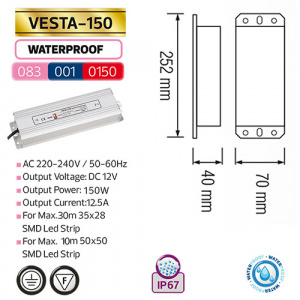 150W 12.5A Feuchtraum LED Trafo Transformator - VESTA-150