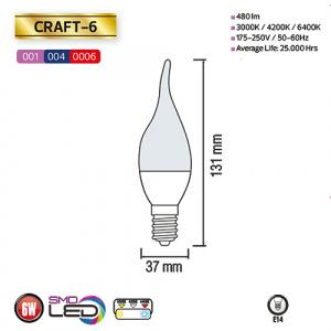6W 6400K E14 LED Leuchtmittel - CRAFT-6