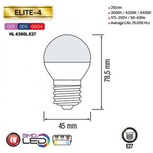 4W 4200K E27 LED Leuchtmittel  - ELITE-4