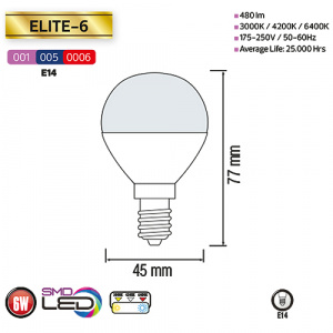 6W 4200K E14 LED Leuchtmittel  - ELITE-6