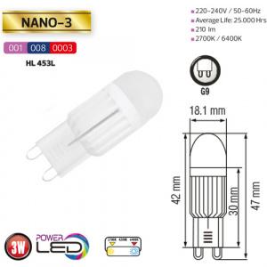 3W Dimmbar G9 2700K LED Leuchtmittel - NANO-3