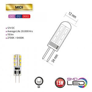 1.5W G4 2700K 12V Silikon Mini LED Leuchtmittel - MIDI