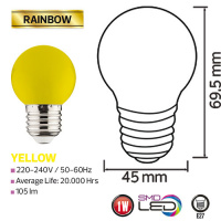 1W Gelb E27 LED Farbige Leuchtmittel - RAINBOW
