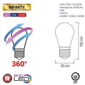 8W 3000K E27 360° LED Leuchtmittel - INFINITY-8