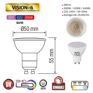 6W 4200K GU10 DIMMBAR LED Leuchtmittel HOROZ  VISION-6