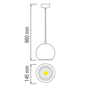 15W Schwarz 6400K LED Pendelleuchte Pendellampe - ASTRA-15