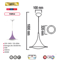 15W Lila 4000K LED Pendelleuchte Pendellampe - MIRA