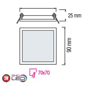 Slim / Sq-3 3W 2700K Ultraslim LED Panel Einbaustrahler Deckenleuchte Leuchte