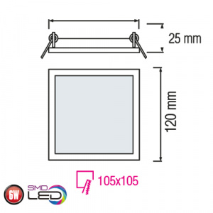 Slim / Sq-6 6W 6400K Ultraslim LED Panel Einbaustrahler Deckenleuchte Leuchte