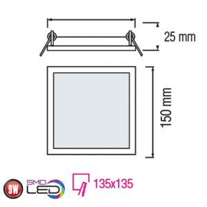 Slim / Sq-9 9W 2700K Ultraslim LED Panel Einbaustrahler Deckenleuchte Leuchte