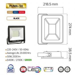 50W Schwarz 6400K LED Projektor Fluter Strahler - PUMA-50