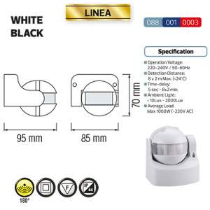 Weiss Bewegungsmelder Sensor Aufputz IP44 180° - LINEA