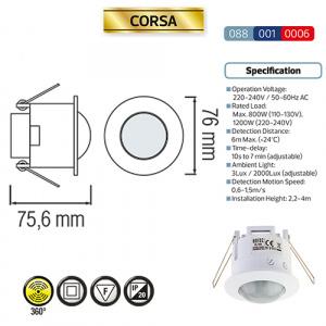 Weiss Infrarot 360° Deckensensor Einbau...