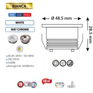 3W Mattchrom 4200K LED Einbaustrahler Einbauleuchte - BIANCA