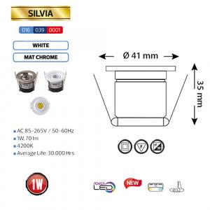 1W Mattchrom 4200K LED Einbaustrahler Mini Einbauspot - SILVIA