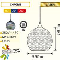 Rund Chrom E27 3D Pendellampe Hängeleuchte Pendelleuchte - LASER