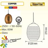 Oval Kupfer E27 3D Pendellampe Hängeleuchte Pendelleuchte - QUANTUM