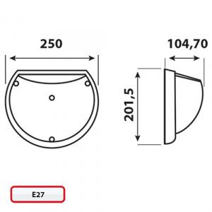AQUA WEISS Halbmond Feuchtraumleuchte Nassraumleuchte Deckenlampe E27