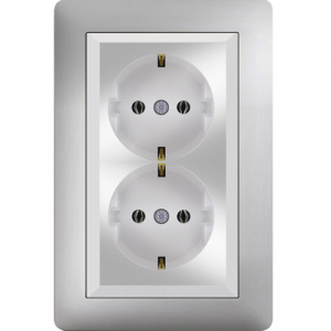 DOUBLE SCHUKO SOCKET OUTLET MODULE+COVER
