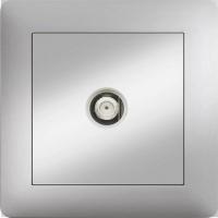 F ANSCHLUSS SAT DOSE DURCHGANG 4 dB  ( Einsatz + Deckel ) LUNIS MET. SILBER