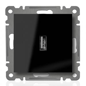 USB ANSCHLUSSDOSE ( Einsatz + Deckel ) LUNIS SCHWARZ