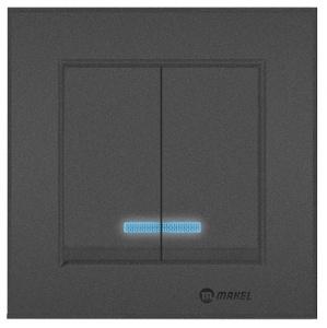 SERIENSCHALTER MIT LED ( Einsatz + Wippe ) KAREA ANTHRAZIT