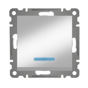 KREUZSCHALTER MIT LED ( Einsatz + Wippe ) KAREA MET. SILBER