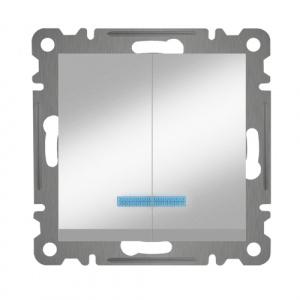 SERIENSCHALTER MIT LED ( Einsatz + Wippe ) KAREA MET. SILBER