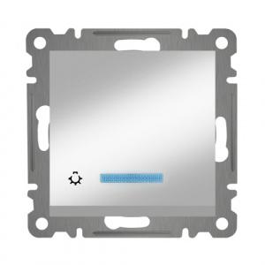 TASTER MIT LED ( Einsatz + Wippe ) KAREA MET. SILBER