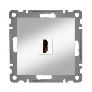 HDMI ANSCHLUSSDOSE  ( Einsatz + Deckel ) KAREA MET. SILBER