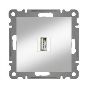 USB ANSCHLUSSDOSE  ( Einsatz + Deckel ) KAREA MET. SILBER